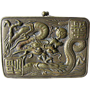 Neat Old Asian Brass Card Holder, Wallet with Dragons
