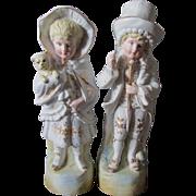 c1880s Victorian Bisque Children with Dog Figurines