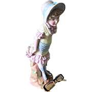 c1870s Victorian Bisque Porcelain Figurine of a Young Girl