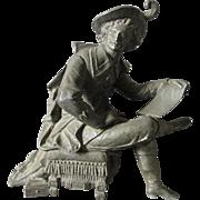 19thC Victorian Sculpture of a Writer, Clock Top