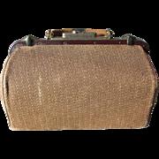 Rare Antique Wicker Doctors Bag, Travel Stachel, or Suitcase