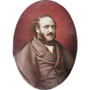 Fine c1868 Hand Painted Plaque French Prime Minister Jules Simon
