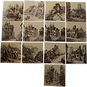Lovely Set of 13 Minton Aesthetic Architectural Tiles, Views Series