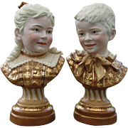 SOLD Lovely Antique Victorian Bisque Bust, Figurines of a Boy & Girl