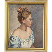 Lovely Vintage Oil Painting of a Pretty Lady, Signed Jean Spencer