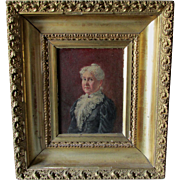 Antique 19th Century Portrait of a Stately Lady in Lace