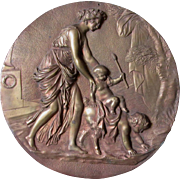 SALE PENDING 19thC Bronze Plaque Mythology Scene of Lady, Cherub & Satyr
