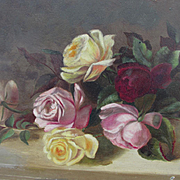 Lovely Original c1890s Victorian Oil Painting of Roses