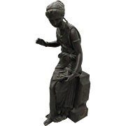 Lovely Antique Classical Bronze Sculpture, Lady with Jewelry Box