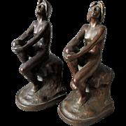 SALE PENDING Rare c1920s Art Nouveau, Art Deco Armor Bronze Nude Lady Bookends
