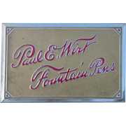 c1910s Paul Wirt  Fountain Pen  Advertising Sign