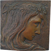 Art Nouveau Bronze Plaque of Ophelia, from Shakespeare's Hamlet