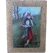 Charming Folk Art Oil Painting of a Girl Wearing a Sunbonnet