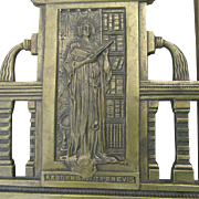 Arts & Crafts, Pre-Raphaelite Bookends with Lady & Latin Quote