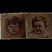 Pr c1887 Child Portrait American Encaustic Tile Co Tiles, Signed Freznel