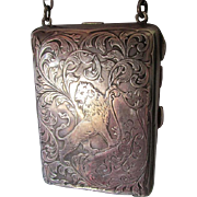 Antique Sterling Silver Compact Handbag with Lion, Blackinton