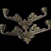Pair Art Nouveau Poppy Flower Candle Sconces, Candlesticks
