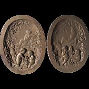 Pair 19thC Bronze Plaques Nudes and Cherubs in Garden