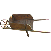 Antique Primitive Child's Wooden Wheelbarrow Toy, S.A. Smith Mfg. Co., Brattleboro, VT