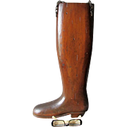 Vintage Hand Carved Folk Art Riding Boot, Trade Sign