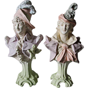 Lovely Pair Antique Majolica, Faience Lady & Gentleman Figurines, Busts