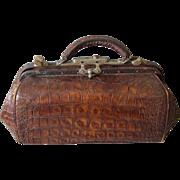 Rare Antique Alligator Leather Doctor Bag for House Calls