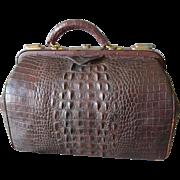 Rare Antique Alligator Leather Doctor Bag