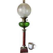 Gorgeous Victorian Banquet Oil Lamp, Green Glass, Bronze & Rouge Marble