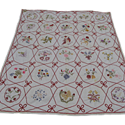 Fine Antique Embroidered Summer Quilt, Bedspread