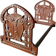 c1910-20s Arts & Crafts Expanding Bookends with Owl Motif