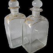 Rare Pair c1830s Blown Glass Bottles, Perfume, Vanity or Decanter Box