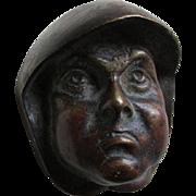 SOLD Antique Arts & Crafts Bronze Friar or Monk Head