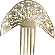 Big c1920s Art Deco Celluloid Hair Comb, Mantilla Comb