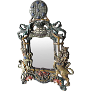 Antique Mirror, Picture Frame with Unicorn, Rampant Lion & Ship