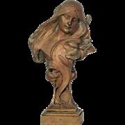 SALE PENDING Lovely Art Nouveau Bronze Bust, Sculpture of a Beautiful Woman