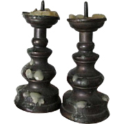 SOLD Rare Pair Antique Miniature Brass Pricket Candlesticks