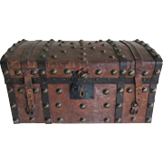 SOLD c1850s Tooler Leather Brass Studded Stage Coach Trunk