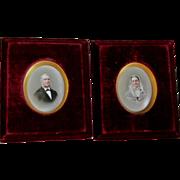 PR Dresden Miniature Porcelain Plaques, Portraits Signed Franz Till