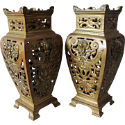 Antique French Cherub Angel Mantle Vases, Potpourri Vases
