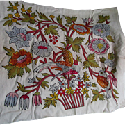 Vintage Linen Panel, with Bird & Flowers Crewel Design