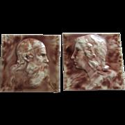 PR 19thC Cambridge Art Pottery Tiles King Lear & Lady by Clement Barnhorn