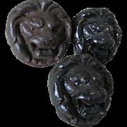 3 Antique Cast Iron Lion Head Architectural Elements, Garden