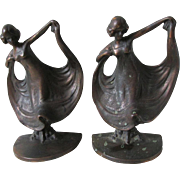 Antique Art Nouveau Lady Dancer Bookends