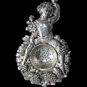 SALE PENDING Antique Sterling Silver Bacchus Wine or Tea Strainer