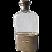 c1905 Edwardian London, England Sterling Silver, Cut Glass Flask