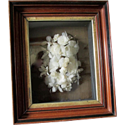 c1880s Victorian Shadowbox with White Feather Wreath Flowers