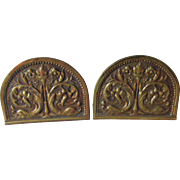 Art Nouveau Dolphin & Flaming Torch Bronze Bookends
