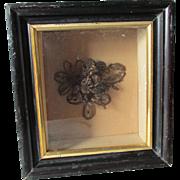 c1870s Victorian Hair Wreath Bouquet in Shadowbox Frame