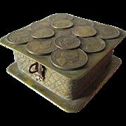 Antique German Bronze Jewelry, Desk or Vanity Box with Coins