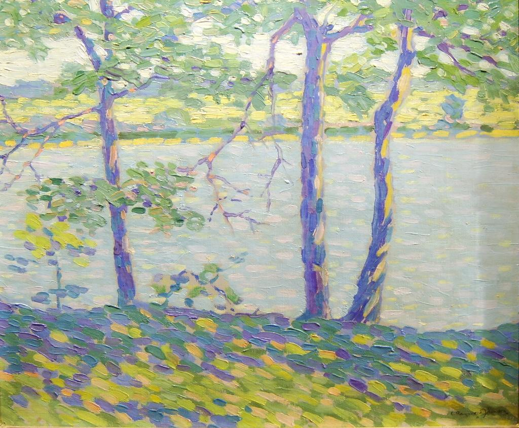 Clarence Raymond Johnson Impressionist Landscape Oil Painting - Three Trees